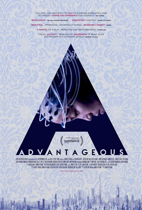 The film poster showing a large letter A in front of a light blue wallpaper-like background. Inside the letter A, we can see Gwen (Jacqueline Kim) wearing a strange cap with wires coming from it.