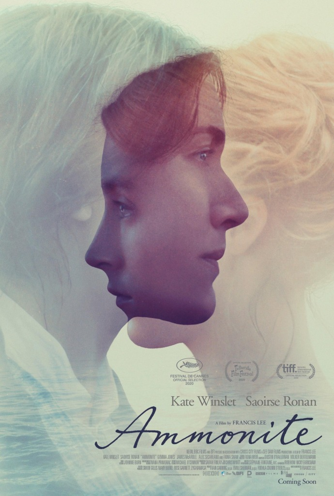The film poster showing Mary Anning (Kate Winslet) looking to the right and Charlotte Murchison (Saoirse Ronan) to the left. Their inages are pale apart from where their two faces intersect.