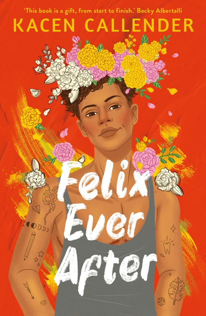 The book cover showing an illustration of a Black guy in a tank top. His arms are covered in small tattoos, he is wearing a flower crown and underneath the tank top, we can just make out scars from top surgery.