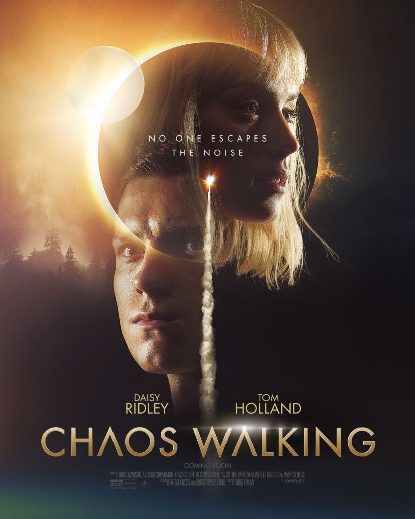 The film poster showing Todd (Tom Holland) and Viola (Daisy Ridley) superimposed over an eclipse and a moon and a rocket.