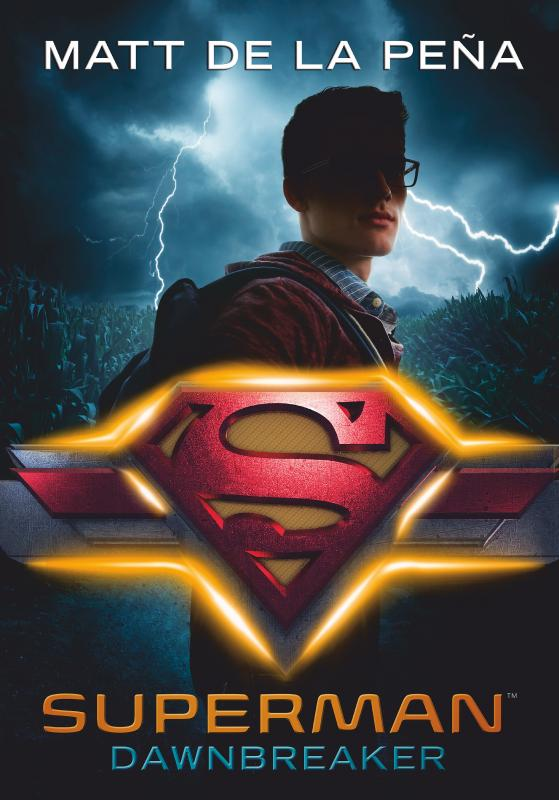The book cover shwoing a young boy with glasses wearing a red hoodie and a backpack in front of a field that is hit by lightning. In front of him is the Superman symbol.