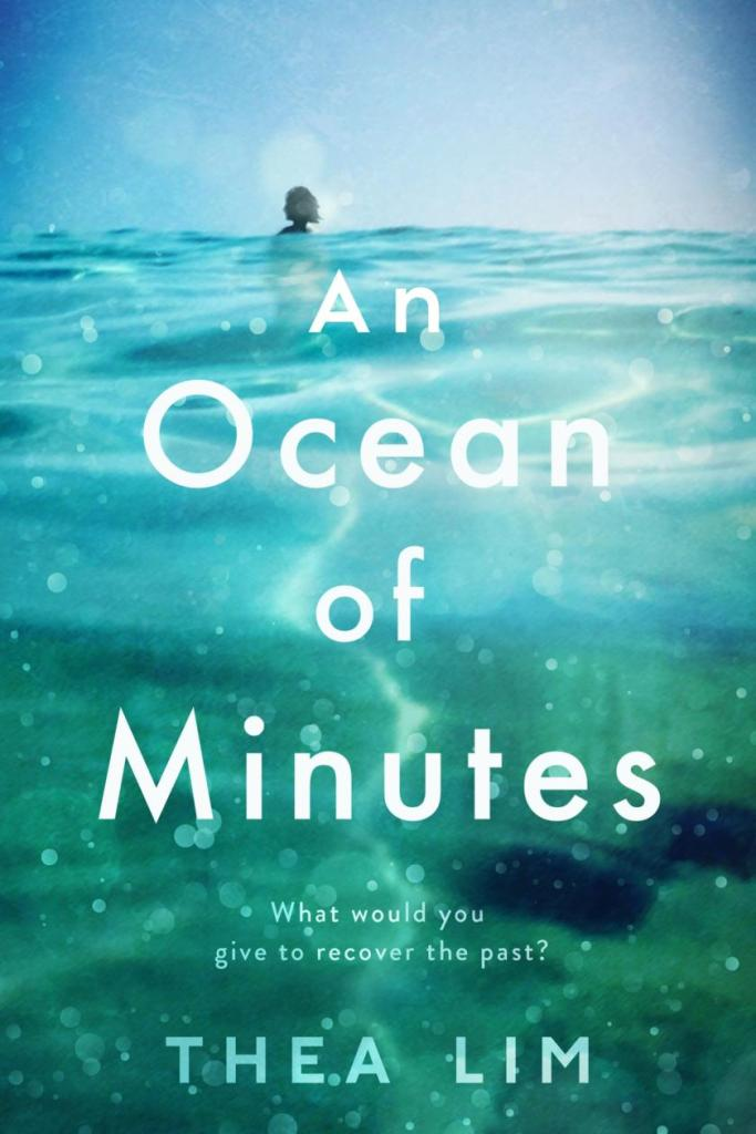The book cover showing water, and in the distance, a shadowed head.