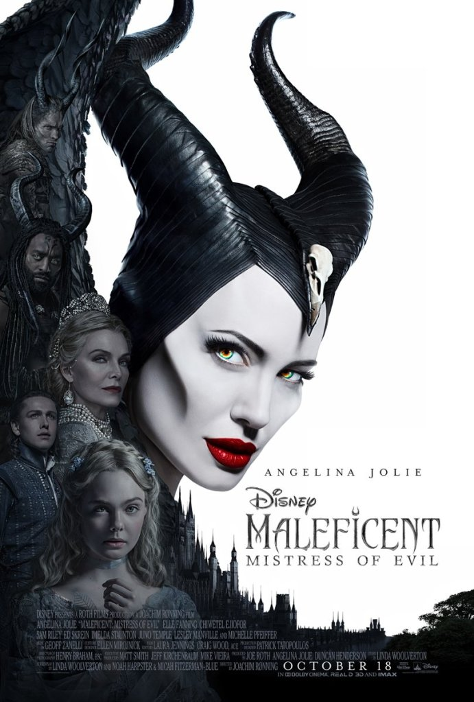 The film poster showing Maleficent (Angelina Jolie) and in her wing several other characters and a castle.
