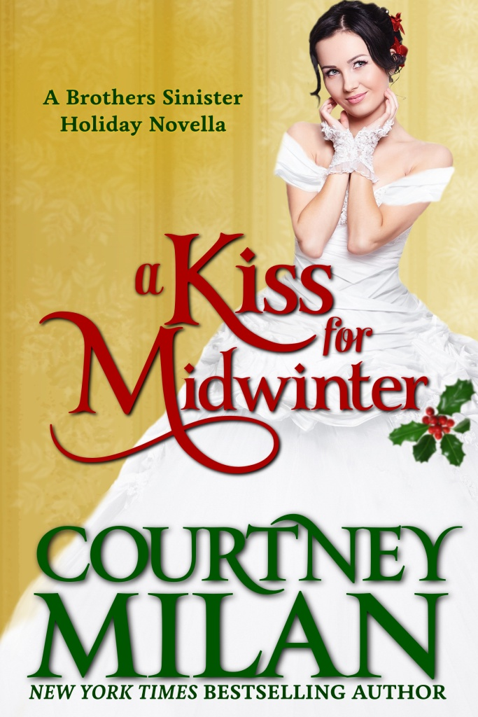 The book cover showing a dark-haired woman in a white 19th century dress with mistletoe in her hair.