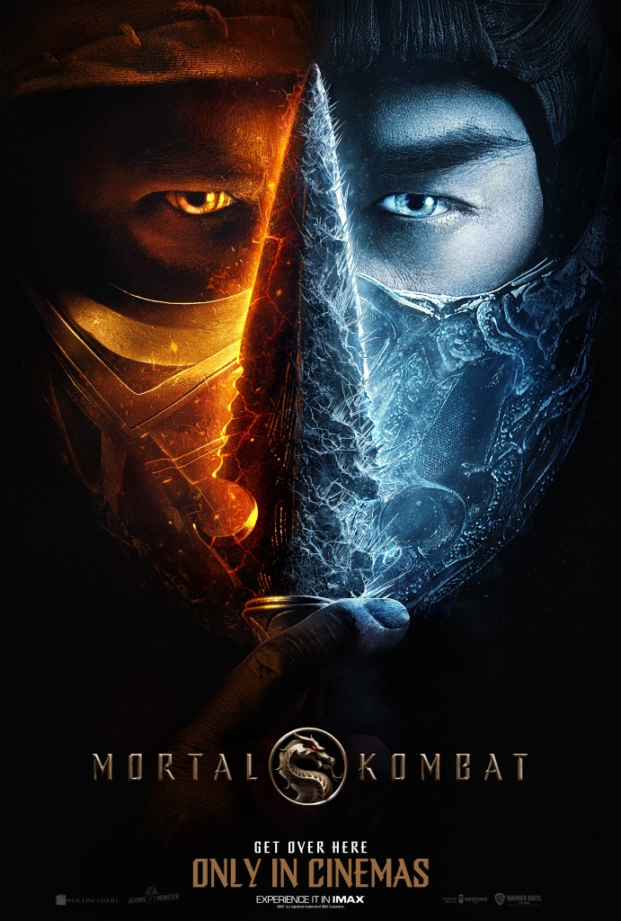 The film poster showing a face in a mask that shows only the eyes, the left side is Scorpion, glowing with fire. The right side is Sub-Zero frosted over with ice.