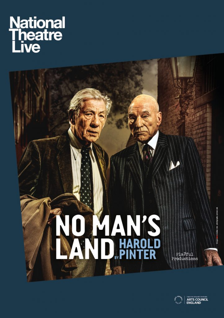 The poster for the production, showing Spooner (Ian McKellen) and Hirst (Patrick Stewart) standing next to each other in suits, with serious expressions.