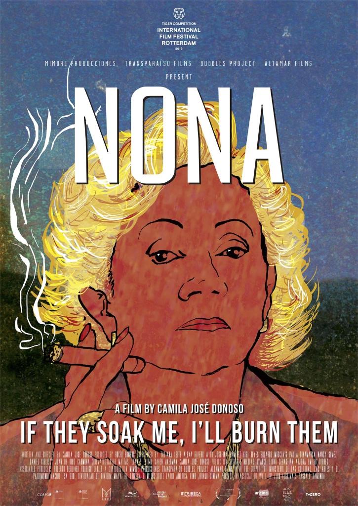 The film poster showing a drawing of Nona (Josefina Ramírez) as she smokes a cigar.