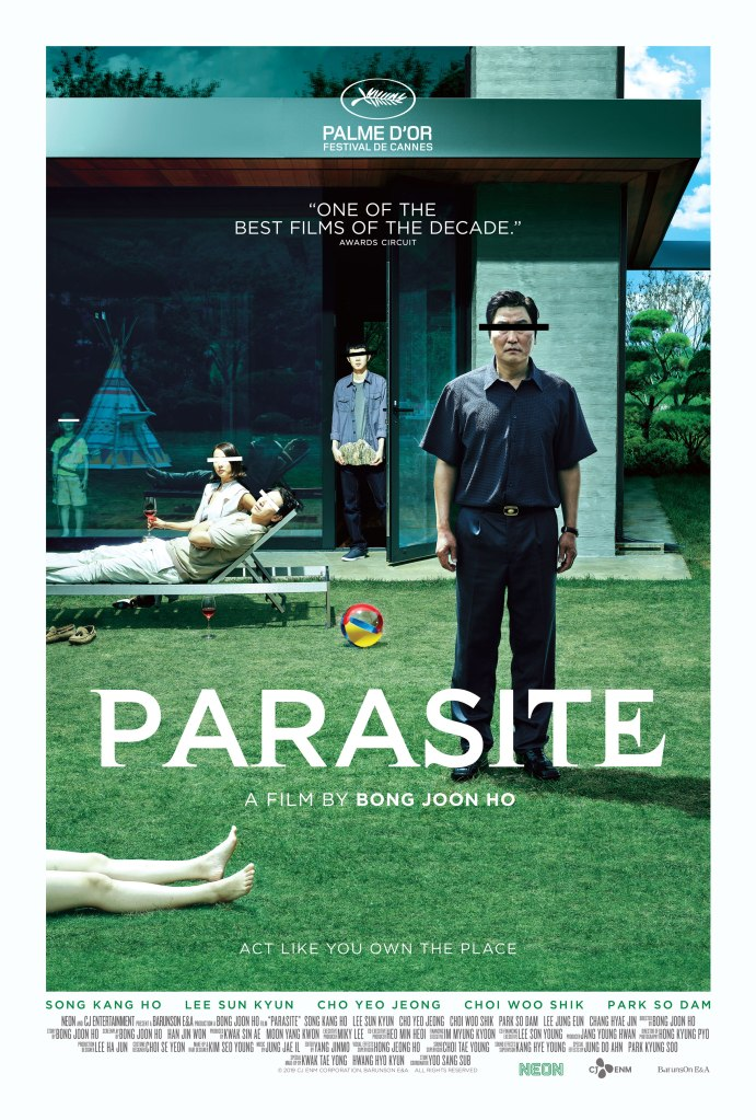 The film poster showing the Kim family lounging in the Park family home. Their eyes are covered as if to anonymize them. A pair of naked legs can be seen at the front of the image.