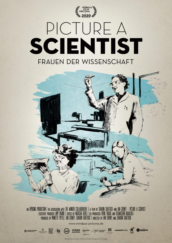 The film poster showing several scientsts at work in a black drawing on beige and light blue background.