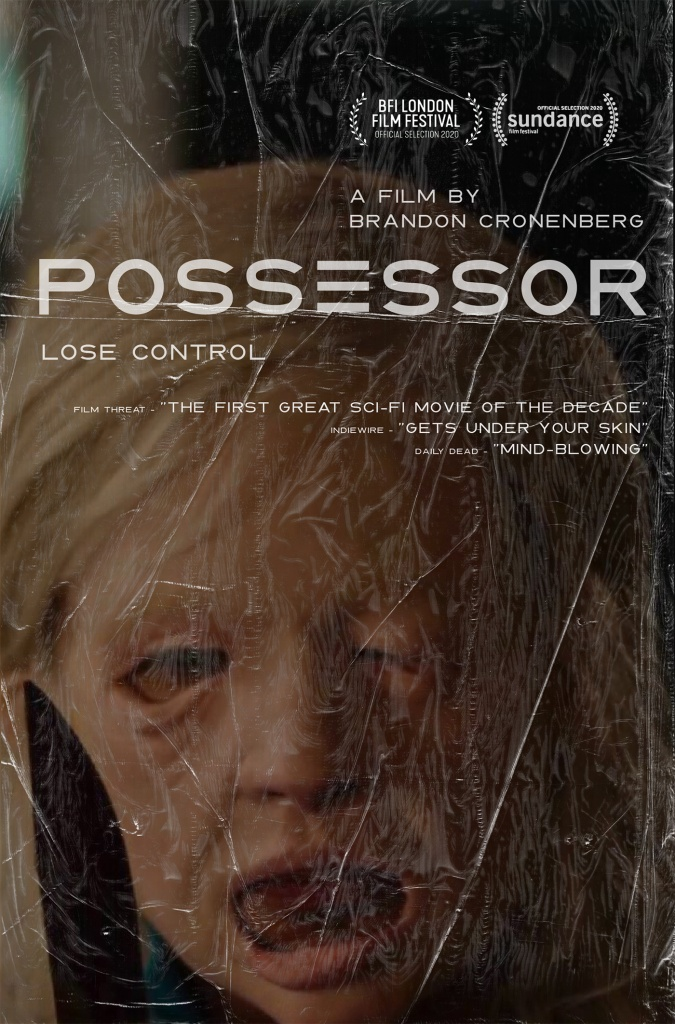 The film poster showing somebody wearing a mask that looks like a melted face and holding a knife.
