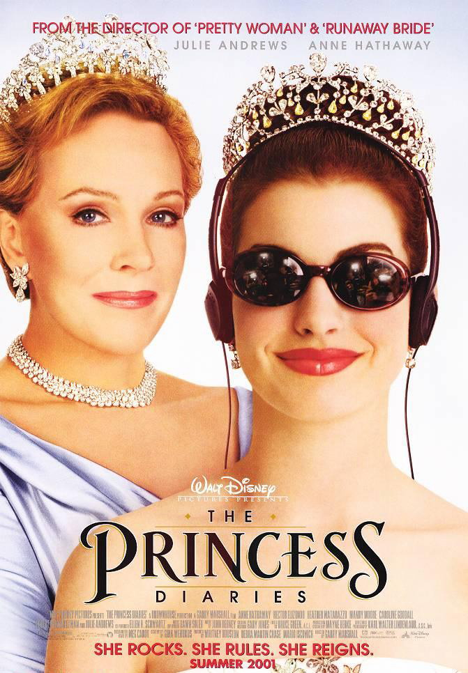 The film poster showing Queen Clarisse (Julie Andrews), all class, and Mia (Anne Hathaway) wearing sunglasses and headphones.
