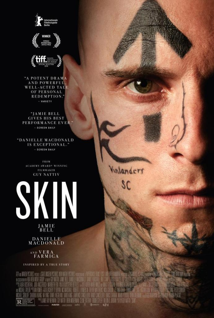 The film poster showing Bryon (Jamie Bell), his face covered in tattoos.