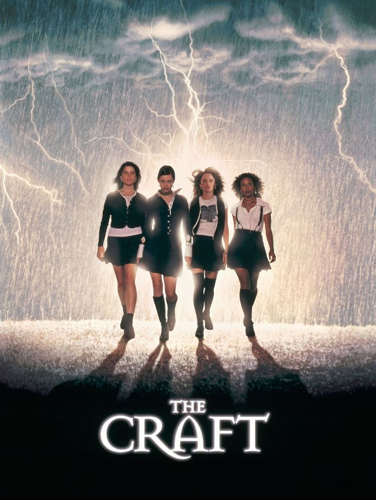 The film poster showing Bonnie (Neve Campbell), Nancy (Fairuza Balk), Sarah (Robin Tunney) and Rochelle (Rachel True) walking through a thunderstorm with a lot of lightning.