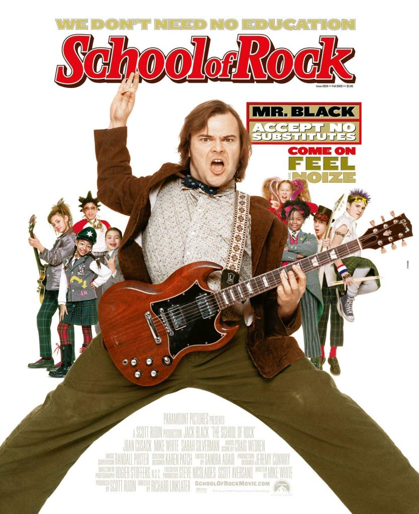 The film poster showing Dewey (Jack Black) in his teacher outfit with a guitar, in a full-on rocker pose. Behind him, we can see 8 children dressed as rockstars themselves.