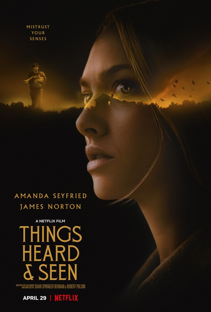The film poster showing Catherine (Amanda Seyfried) superimposed over a house in the distance. Much smaller next to her face is George (James Norton) carrying their daughter Franny (Ana Sophia Heger).