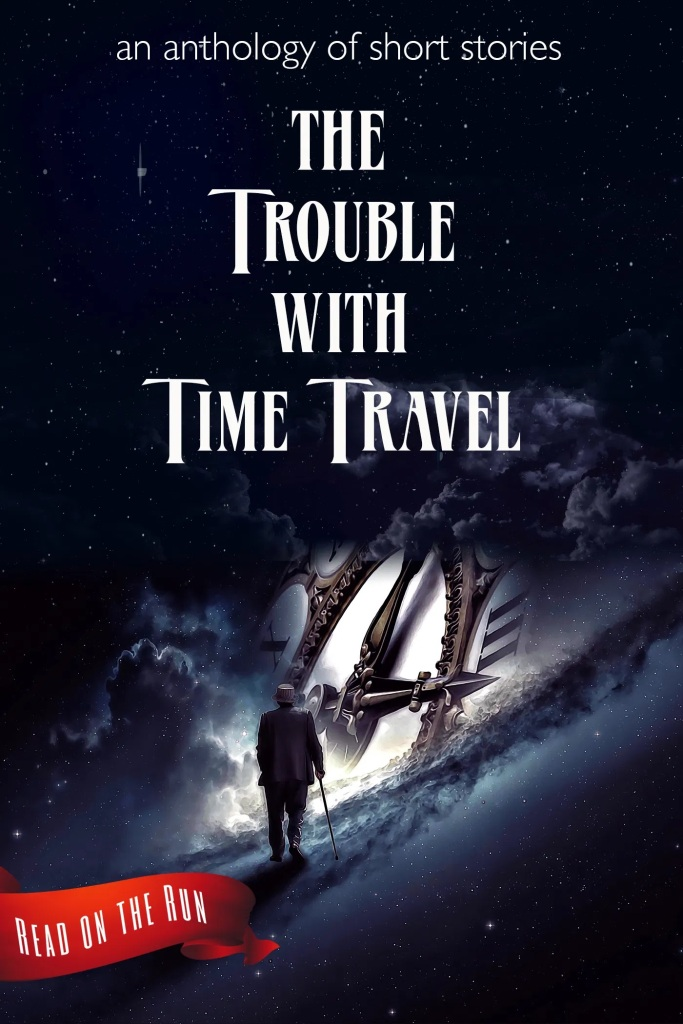 The book cover showing a man with a walking stick walking across a cloud towards a huge clock. Clouds, man and clock are all floating in the universe.