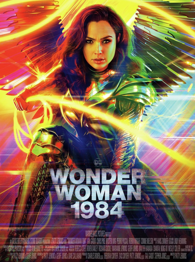 The film poster showing Diana (Gal Gadot) as Wonder Woman in a golden, winged suit with the glowing lasso of truth.