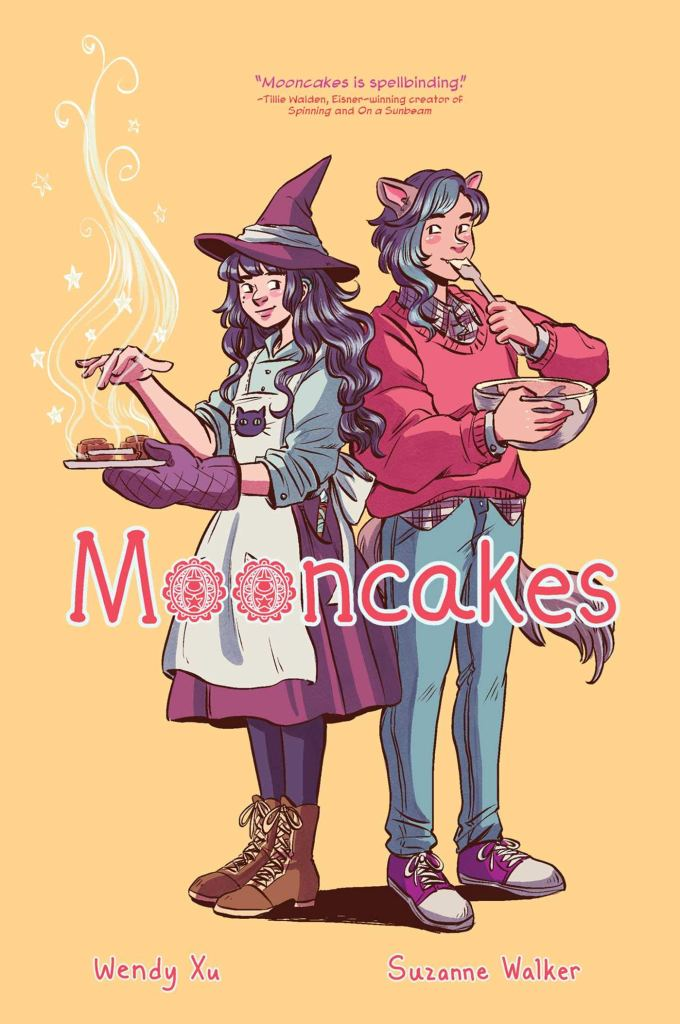 The book cover, showing Nova and Tam standing back to back. Nova is holding a steaming plate of cookies, her hand hovering over it as if performing magic. Tam is tasting dough from a bowl they're holding.