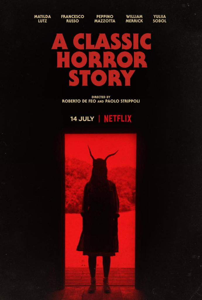 The film poster showing a woman standing in a doorway. She is in shadow, and some kind of horns are growing from her head. The landscape behind her is drenched in red light.