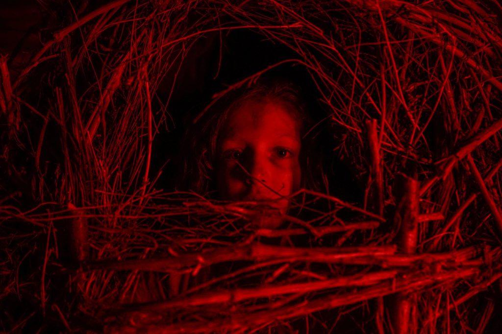 Chiara (Alida Baldari Calabria) huddling in a coccoon made of twigs.