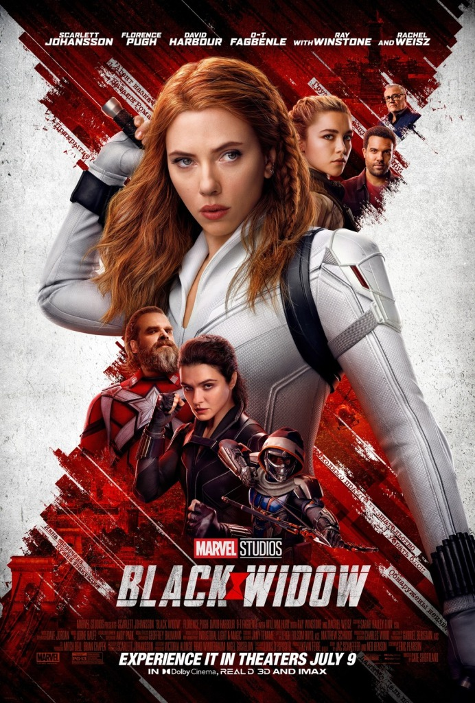 The film poster showing Natasha (Scarlett Johansson) very big, grabbing a sword on her back, with the other characters much smaller arranged around her. The background is the Black Widow sign in red on white.
