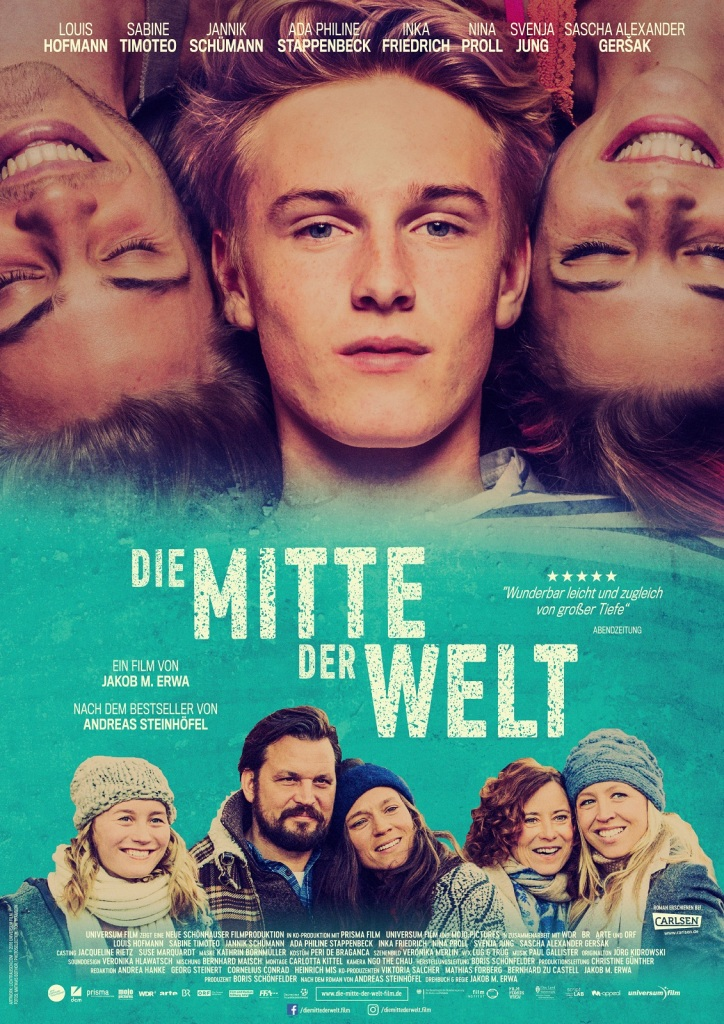 The film poster showing Phil (Louis Hofmann) lying between Nicholas (Jannik Schümann) and Kat (Svenja Jung), but they are upside down. Below them, the rest of the central cast can be seen much smaller, standing in a group.