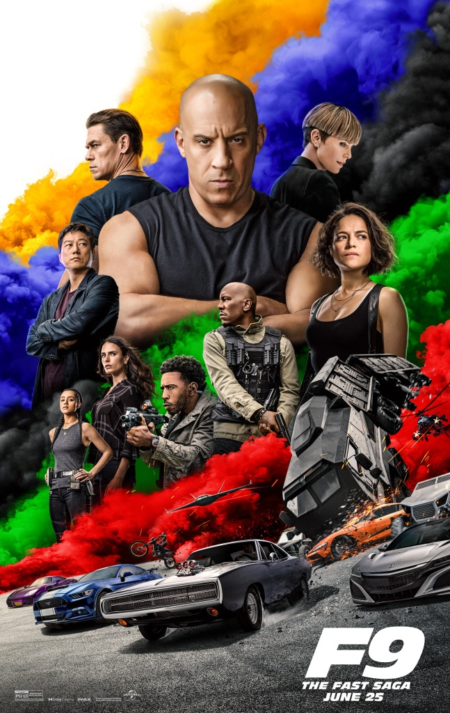 The film poster showing the main characters in various sizes and poses in front of colorful smoke and above cars, tanks, drones and helicopters.