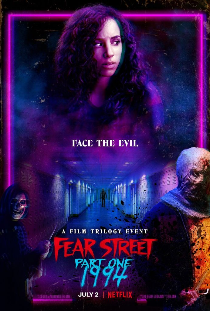 The film poster showing Deena (Kiana Madeira) lit by purple neon light, above a school hallway with an axe murderer and two masked killers next to that image.