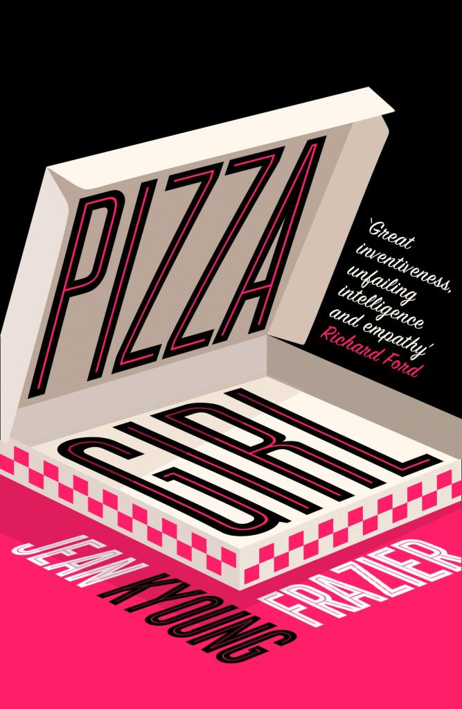 The book cover showing a graphic of an open, empty pizza box in front of a black and pink background.