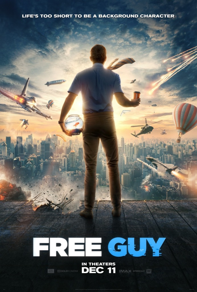 The film poster showing Guy (Ryan Reynolds) from behind, standing on a rooftop overlooking a city skyline full of plans, rockets, hot air balloons, parachutes and an explosion. He has a goldfish bowl with a goldfish in one hand and a disposable coffee cup in the other.