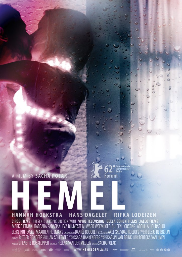 The film poster showing Hemel (Hannah Hoekstra) making out with a guy while wrapped in a string of lights.