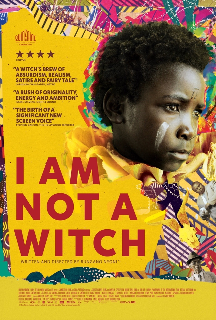 The film poster showing Shula (Maggie Mulubwa) in front of a colorful, collage-like background.