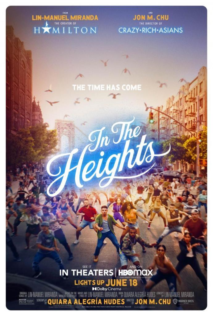 The film poster showing a big crowd of people dancing in the streets of New York, Washington Heights to be specific.