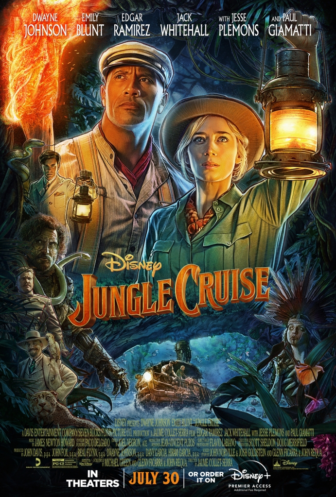 The film poster showing drawings of Frank (Dwayne Johnson) and Lily (Emily Blunt) in front of a jungle background. Below them, we can see Frank's boat going over some rapids, as well as other characters in the film, much smaller.