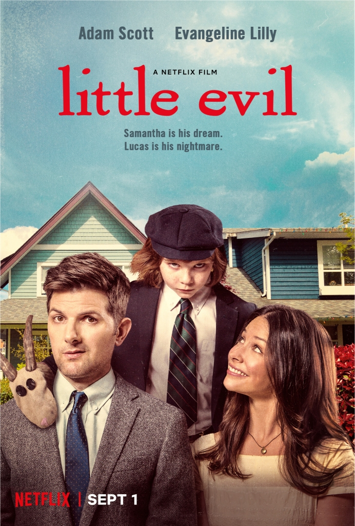 The film poster showing Gary (Adam Scott) and Samantha (Evangeline Lilly) with Lucas (Owen Atlas) standing behind them. Lucas looks creepy, Samantha smiles up at him and Gary looks uncomfortable.