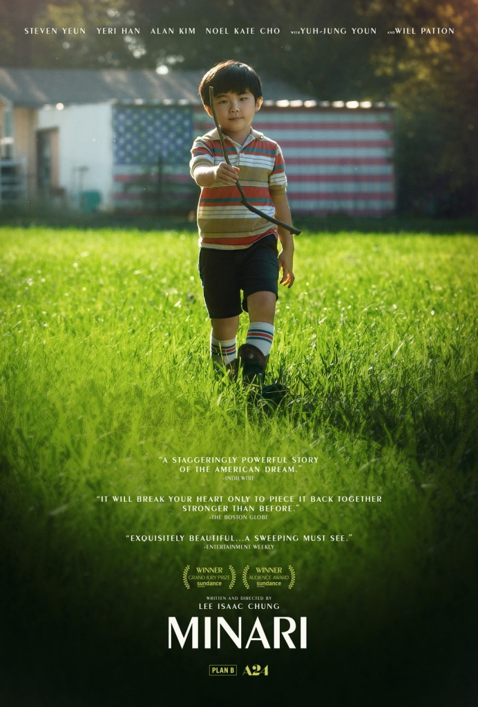 The film poster showing David (Alan S. Kim) walking over a field with a stick in his hand. A mural of the US-American flag can be seen on the background.