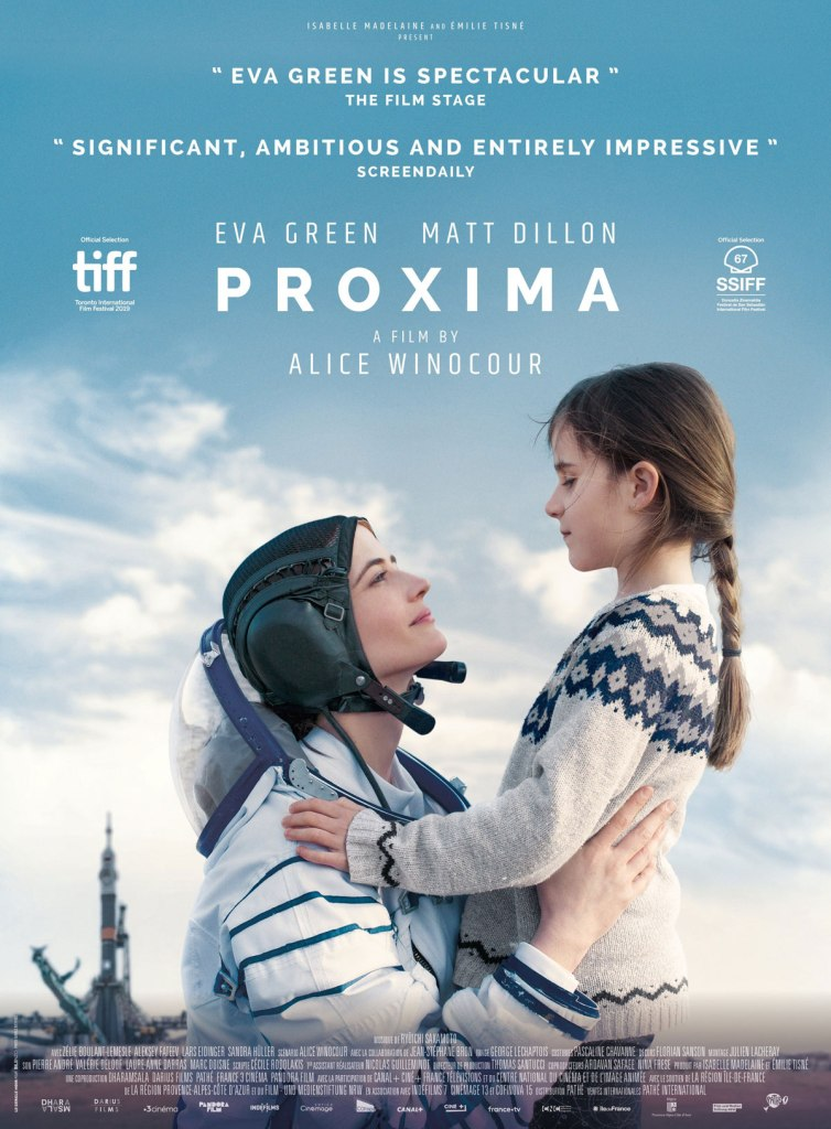 The film poster showing Sarah (Eva Green) in her astronaut suit holding her daughter Stella (Zélie Boulant), behind them a rocket getting ready to lift off.