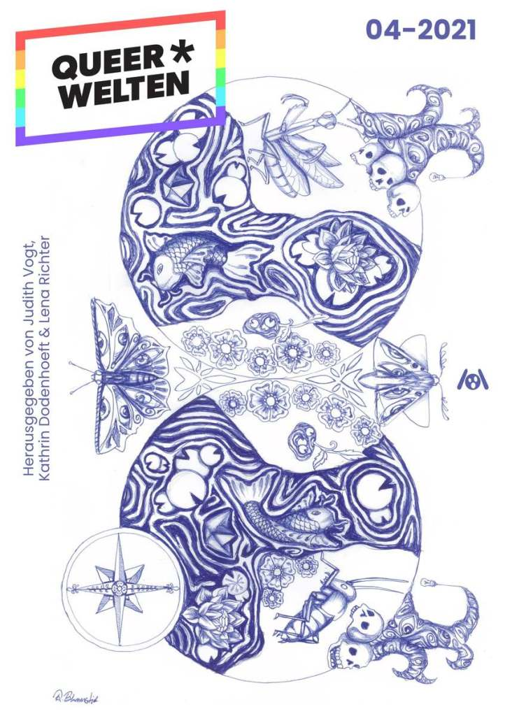 The magazine cover showing an illustration drawn with biro of two circles that seem mirror images at first, but differ when you look closely at them. They show rivers, plants, insects and fish.