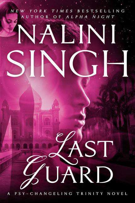 The book cover showing an Indian palace with palm trees, overlayed with a woman standing, overlayed yet again with a man's face, all in pink and black.