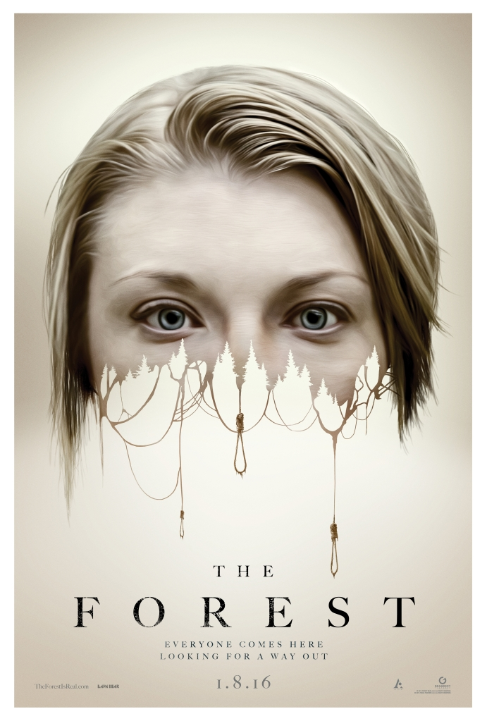 The film poster showing Sara's (Natalie Dormer) face, the lower half dissolving into a series of nooses below a line of trees.
