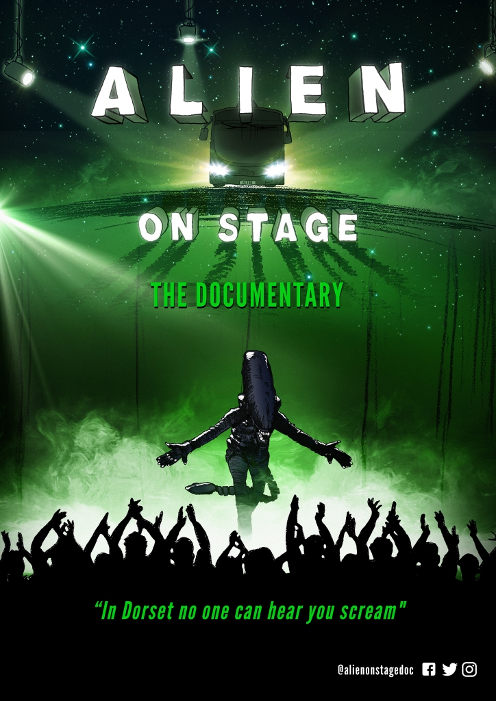 The film poster showing a bus with spotlights on it. Below it we see a xenomorph taking a bow in front of a crowd.