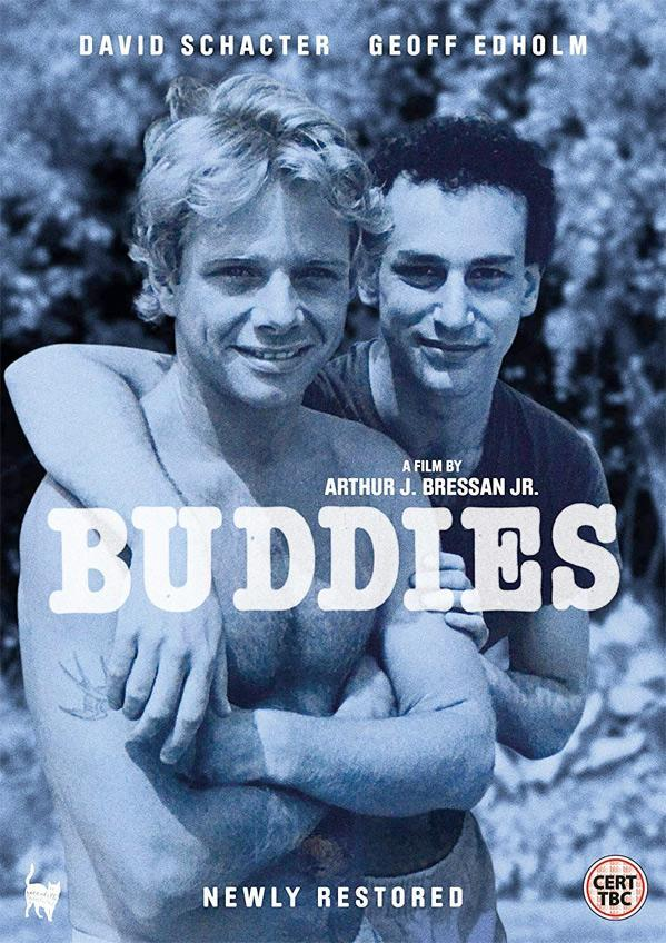 The film poster showing David (David Schachter) with an arm around Robert (Geoff Edholm).