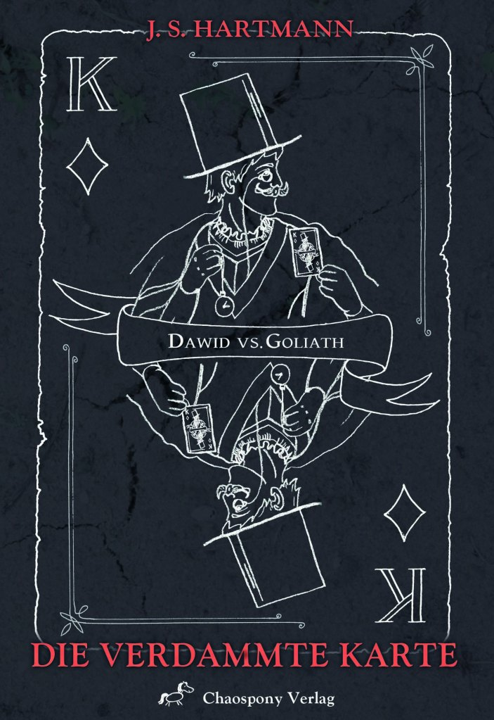The book cover is drawn like a playing card with white lines on black background. We can see the King of Diamonds, holding a card that shows himself in one hand and a pocket watch in the other. He is wearing a top hat and a monocle and mirrored at the waist.