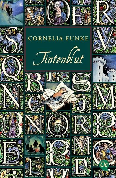The book cover showing a mosaic of illustrated letters like at chapter beginnings. There's also twi figures under a tree at night, a portrait of a lady, the toers of a castle, a bird sitting on an open book, and a few figures around an open fire in the forest.