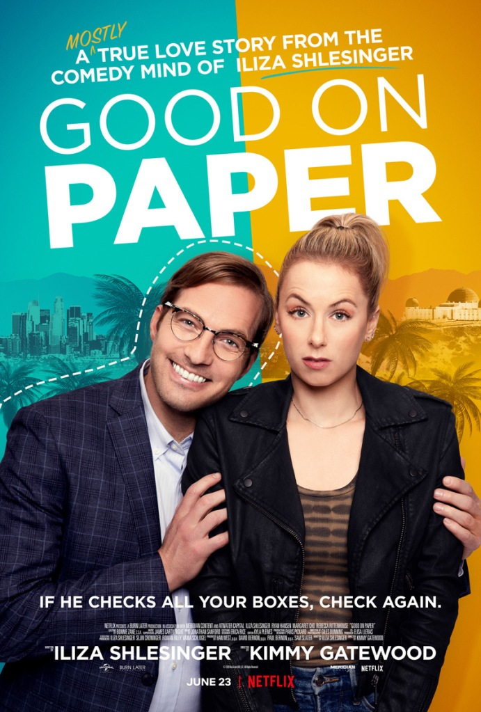The film poster showing Andrea (Iliza Shlesinger) looking sceptical as Dennis (Ryan Hansen) holds on to her, smiling widely.