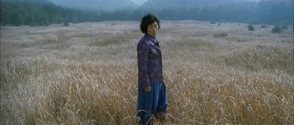 The mother (Hye-ja Kim) standing in wheat field.