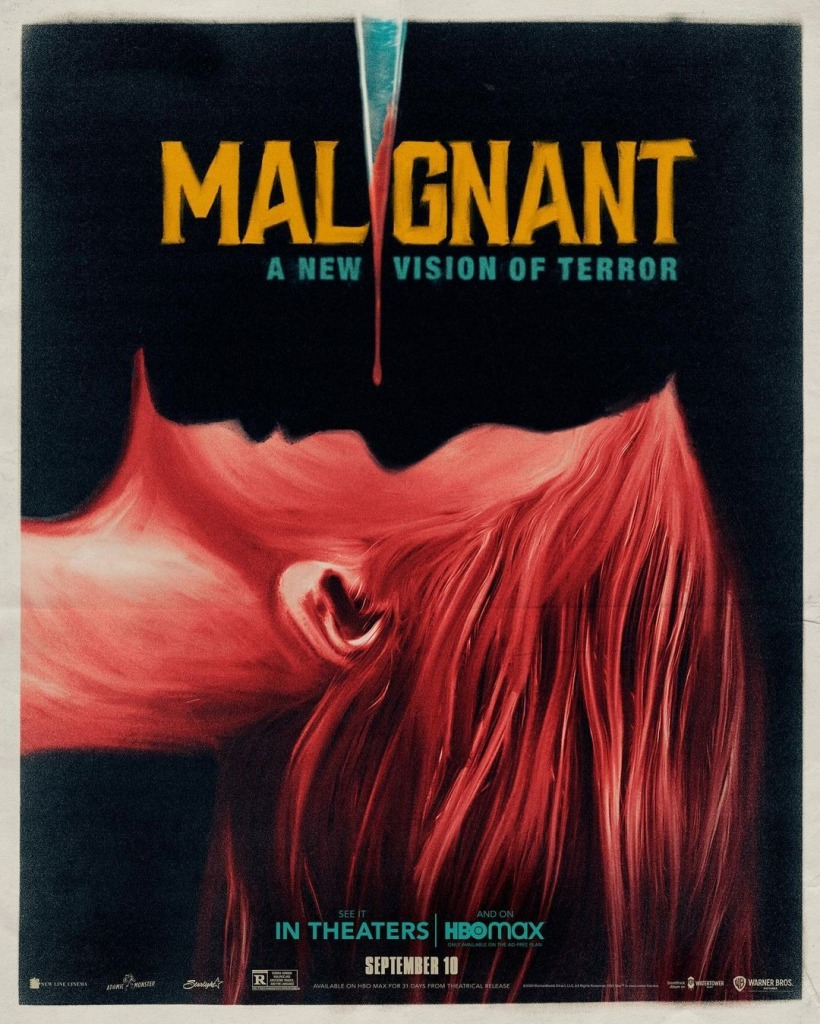 THe film poster showing the drawing of a woman in profile lying on her back. A shadow is over her face that looks like a face and a bloody knife is above them.