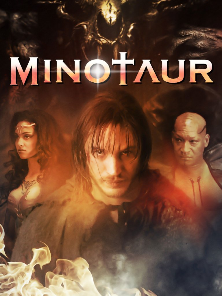 The film poster showing Theo (Tom Hardy) in the center and Raphaella (Michelle Van Der Water) to the left of him and Deucalion (Tony Tood) to the right.