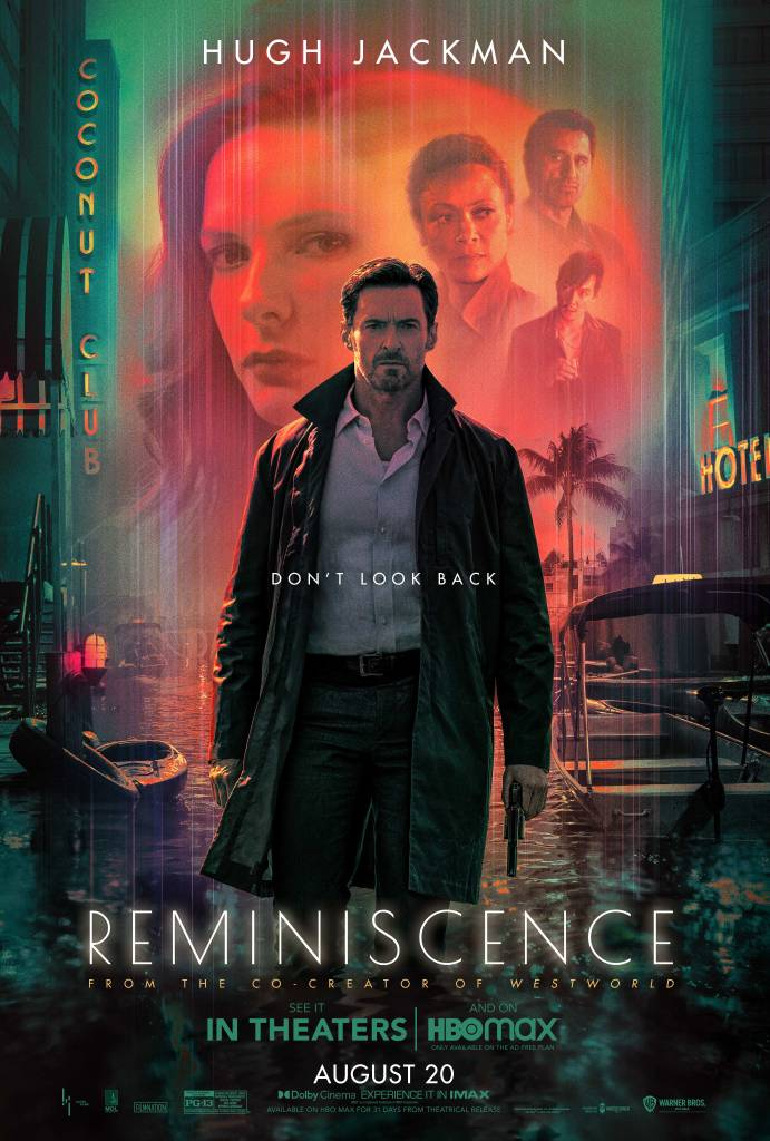 The film poster showing Nick (Hugh Jackman) standing with a gun in his hand, pointed at the floor. Behind him is a half-submerged street with boats and the other main characters are superimposed over the setting orange sun.