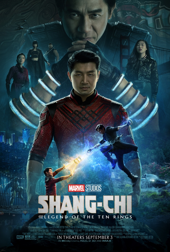 The film poster showing Shaun (Simu Liu), his father Wenwu (Tony Chiu-Wai Leung) looming large behind him, wearing the ten rings. The two can be seen fighting as smaller figures in the front. Other important characters are arranged around them.